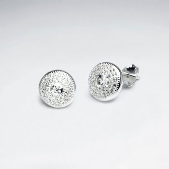 Sterling Silver Cubic Zirconia Medallion Inspired Stud Earrings