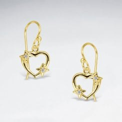 Sterling Silver & Cubic Zirconia Open Heart Earrings