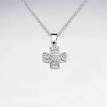 Sterling Silver Cubic Zirconia Pave Cross Pendant