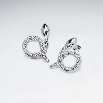 Sterling Silver Cubic Zirconia Snake Stud Earrings