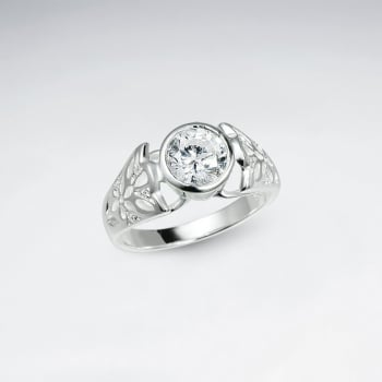 Sterling Silver Cubic Zirconia Solitaire Filigree Ring