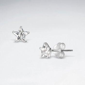 Sterling Silver Cubic Zirconia Starry Stud Earrings