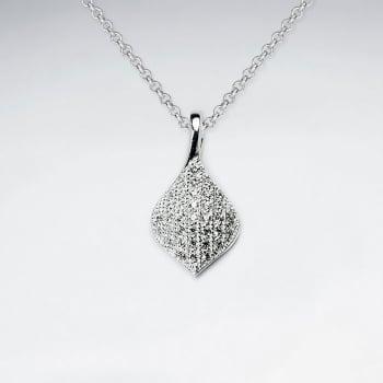 Sterling Silver Cubic Zirconia Teardop Inspired Pendant