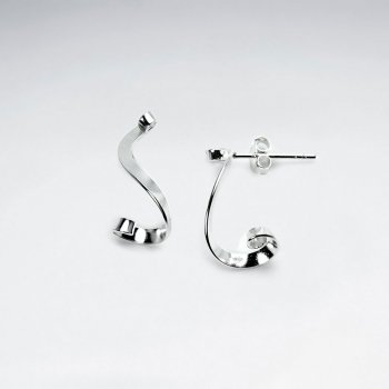 Sterling Silver Curled Stud Drop Earrings
