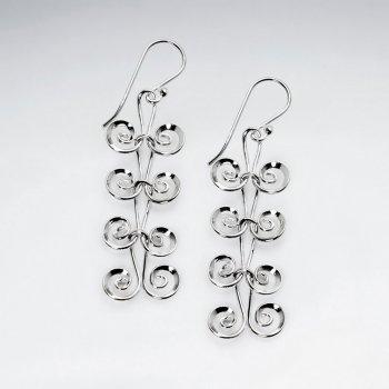 Sterling Silver Curlicue Shepherd's Hook Earrings