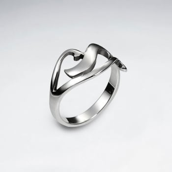 Sterling Silver Curve Design Ring