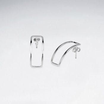 Sterling Silver Curvilinear Openwork Rectangle Stud Earrings