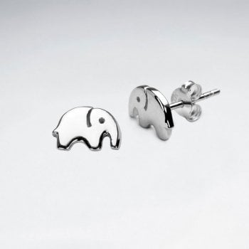 Sterling Silver Cute Elephant Earrings