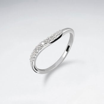 Sterling Silver CZ and Crystal Ring