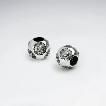 Sterling Silver & CZ Flower Embellished Rounded Beads