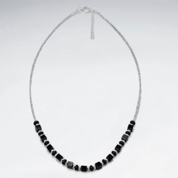 Sterling Silver Dainty Black Stone Necklace
