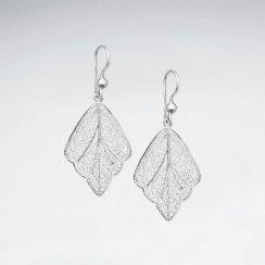 Sterling Silver Dangle Filigreed Delicate Leaf Drop Earrings