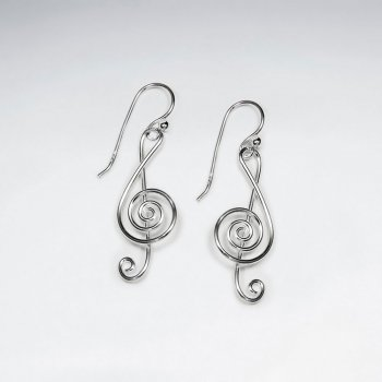 Sterling Silver Dangle Hook Earrings Featuring Musical Note Design
