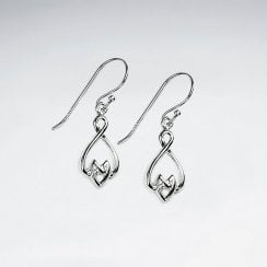 Sterling Silver Decorative Openwork Dangle Earrings