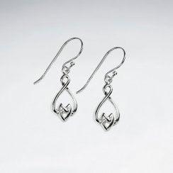 Sterling Silver Decorative Openwork Dangle Earrings