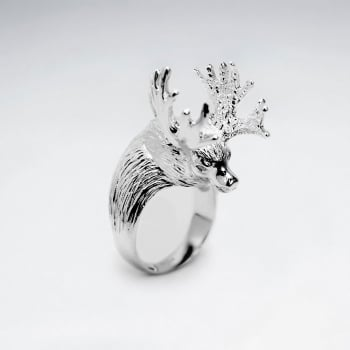 Sterling  Silver Deer Head Design Ring