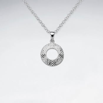 Sterling Silver Detailed Circle Disc Pendant