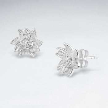 Sterling Silver Detailed Flower Blossom Stud Earrings