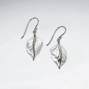 Sterling Silver Detailed Leaf Dangle Earrings