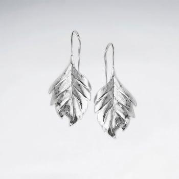 Sterling Silver Detailed Leaf Earrings