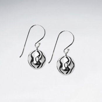 Sterling Silver Detailed Three-Dimensional Ball Earrings