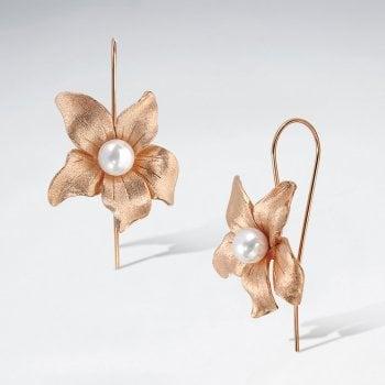 Sterling Silver Dewy Flower Hook Earrings