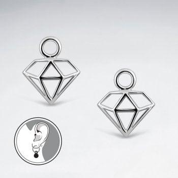 Sterling Silver Diamond Shape Filigree Hoop Charm