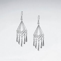 Sterling Silver Diamond-Shaped Chandelier Drop Earrings