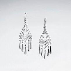 Sterling Silver Diamond-Shaped Chandelier Drop Earrings