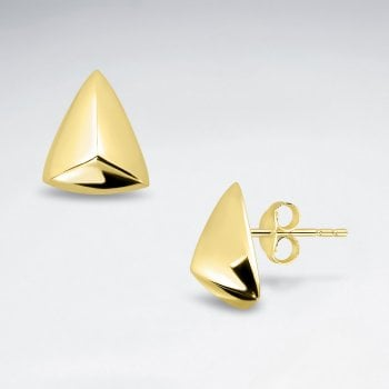 Sterling Silver Dimensional Triangle Stud Earrings