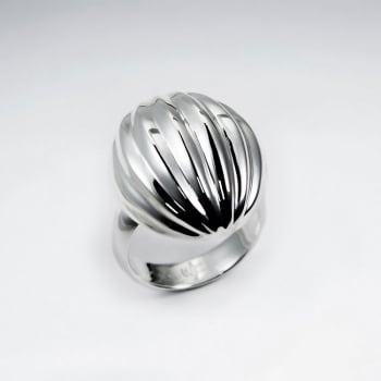 Sterling Silver Dome Top With Texture Design Ring