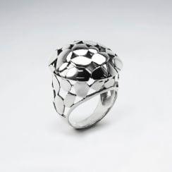 Sterling Silver Domed Spotted Designer Cocktail Ring