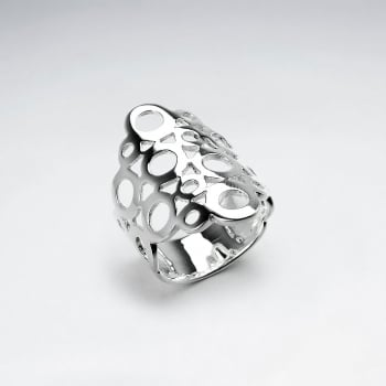 Sterling Silver Dotted Cutout Ring