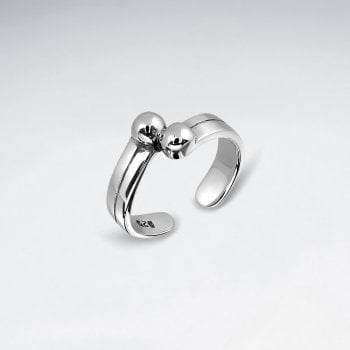 Sterling Silver Double Ball Toe Ring