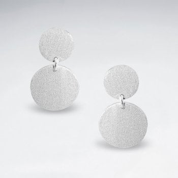 Sterling Silver Double Circle Drop Earrings