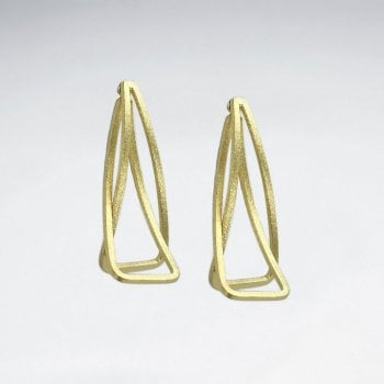 Sterling Silver Double Curving Openwork Rectangle Earrings