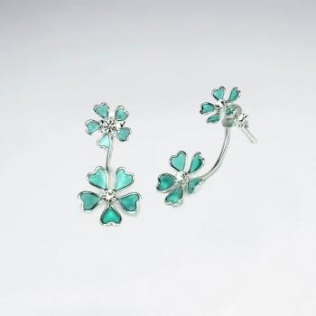 Sterling Silver Double  Enamel Flower Blossom Stud Earrings