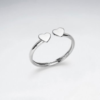 Sterling Silver Double Hearts Silhouette Open Ended Ring