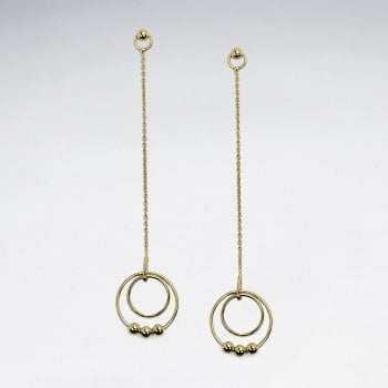 Sterling Silver Double Hoop and Ball Dangle Chain Earrings