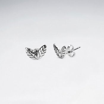 Sterling Silver Double Leaf Stud Earrings