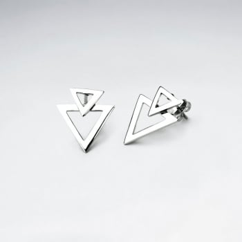 Sterling Silver Double Overlap Openwork Triangle Stud Earrings