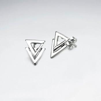 Sterling Silver Double Overlap Openwork Triangle Stud Earrings