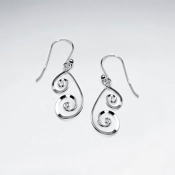 Sterling Silver Double Swirl Dangle Hook Earrings