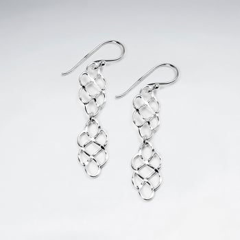 Sterling Silver Double Tiered Openwork Hook Earrings