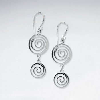 Sterling Silver Double Tiered Swirl Circle Dangle Hook Earrings