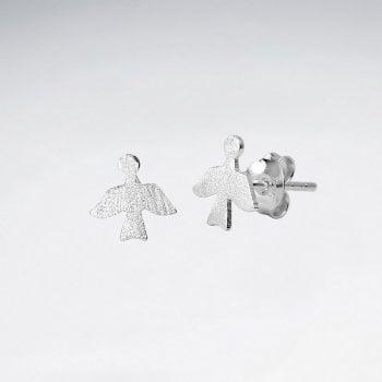 Sterling Silver Dove in Flight Stud Earrings