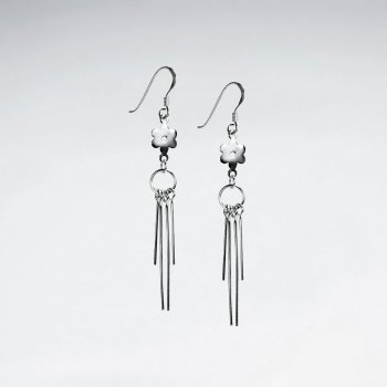 Sterling Silver Drop Dangle Chime Design Earrings