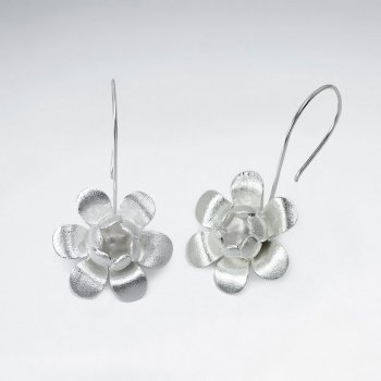 Sterling Silver Drop Flower Hook Earrings