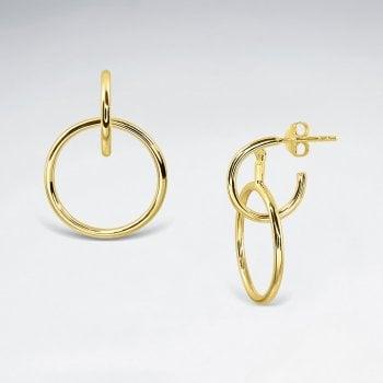 Sterling Silver Drop Hoop Dangle Earrings