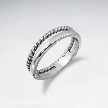 Sterling Silver Dual Band Rope Ring